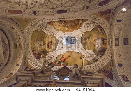 Italy Siena - December 26 2016: the view of Frescoes on the ceiling of Museo dell'Opera Metropolitana del Duomo on December 26 2016 in Siena Tuscany Italy.