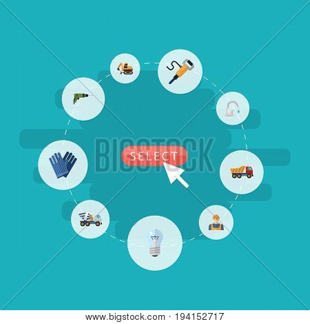 Flat Icons Faucet, Mitten, Electric Screwdriver And Other Vector Elements. Set Of Industry Flat Icons Symbols Also Includes Bright, Screwdriver, Worker Objects.