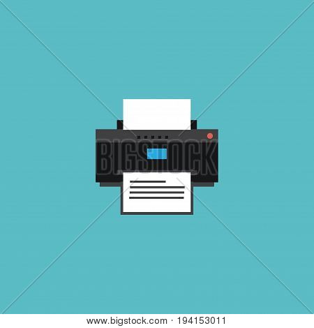 Flat Icon Printing Machine Element. Vector Illustration Of Flat Icon Printer Isolated On Clean Background. Can Be Used As Printer, Machine And Printing Symbols.
