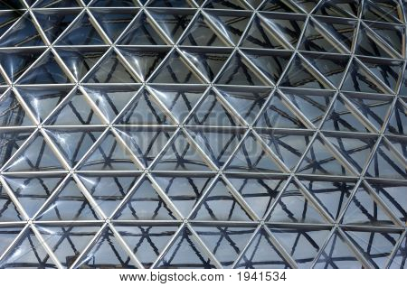 Geodesic dome construction with plexiglas panels and metal girders. poster