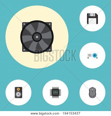 Flat Icons Presentation, Computer Mouse, Cooler And Other Vector Elements. Set Of Laptop Flat Icons Symbols Also Includes Slideshow, Cpu, Presentation Objects.
