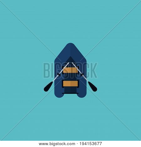 Flat Icon Rubber Boat Element. Vector Illustration Of Flat Icon Ship Isolated On Clean Background. Can Be Used As Ship, Rubber And Boat Symbols.