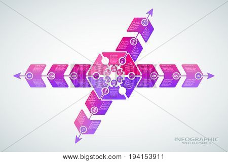 Vector infographic poster of gradient lilac and purple shapes with text on the gradient gray background.
