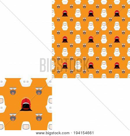 Seamless pattern of Rescue and fire with respiratory mask glasses and white helmets on the yellow background with pattern unit.
