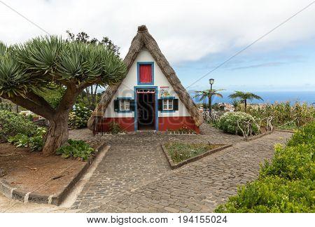 SANTANA MADEIRA PORTUGAL SEPTEMBER 9 2016: Traditional rural house in Santana on Madeira island Portugal