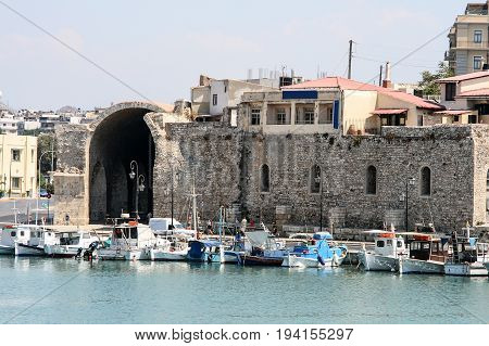 View of Koules castle with yachts in the harbour Heraklion Crete Greece Europe