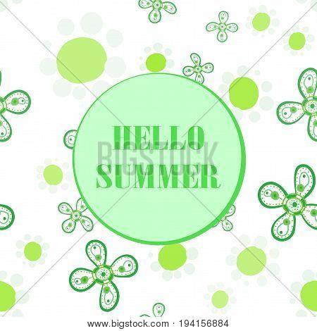 Hello Summer Party Flyer Cover. Vector Seamless Design.
