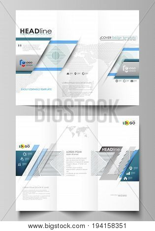Tri-fold brochure business templates on both sides. Easy editable abstract vector layout in flat design. Minimalistic background with lines. Gray color geometric shapes forming simple beautiful pattern.