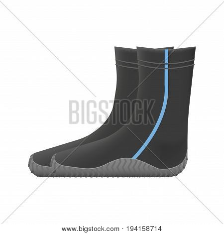 Dive booties. Diving underwater equipment vector illustration.