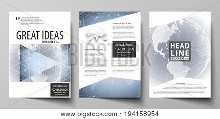 The vector illustration of the editable layout of three A4 format modern covers design templates for brochure, magazine, flyer, booklet. Abstract futuristic network shapes. High tech background