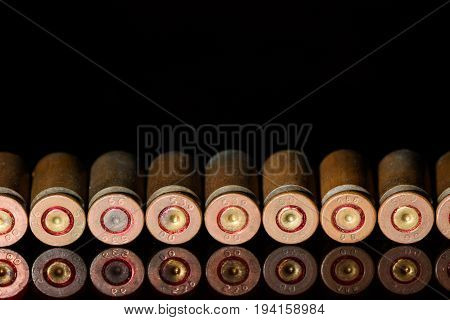 Lined In A Straight Row Of Empty Shells Of 9 Mm Pistol Close Up