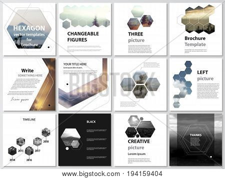 The minimalistic vector illustration of the editable layout of square format covers design templates for brochure, flyer, magazine. Abstract polygonal modern style with hexagons