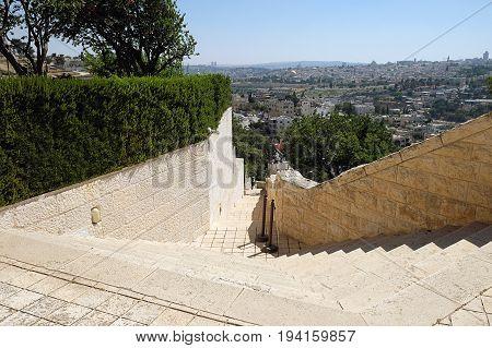 JERUSALEM ISRAEL - JUNE 29 2017: Campus of Brigham Young University Jerusalem Center for Near Eastern Studies.