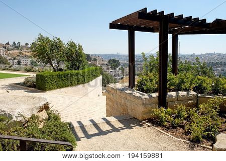 JERUSALEM ISRAEL - JUNE 29 2017: Arbor in the Campus of Brigham Young University Jerusalem Center for Near Eastern Studies.