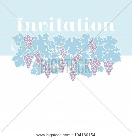 light blue color wine grape background. vector illustration of grapes silhouette