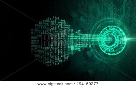 A conceptual image with a key formed out of binary code, representing cybersecurity.
