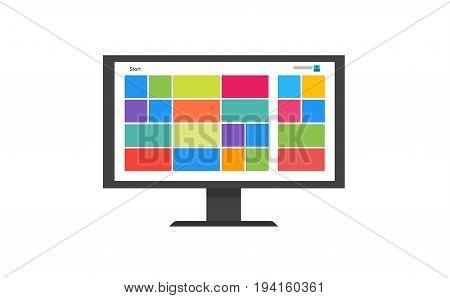 Flat tile style desktop monitor vector illustration