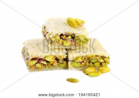 Arabic sweets with pistachios  , close up shot