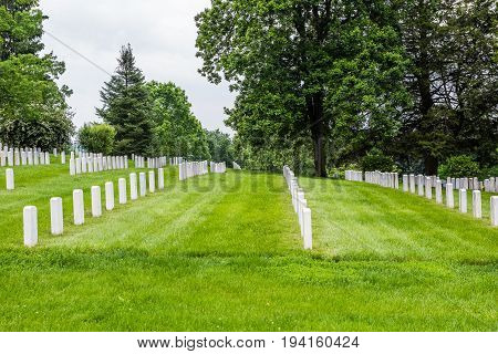 Gettysburg USA - May 24 2017: Gettysburg National Cemetery battlefield park with many grave stones and sites