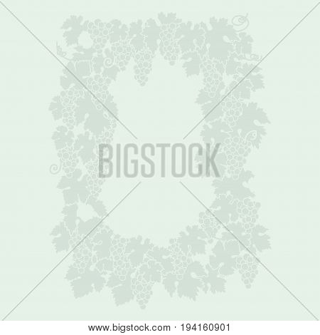 mint color wine grape background. vector illustration of grapes silhouette