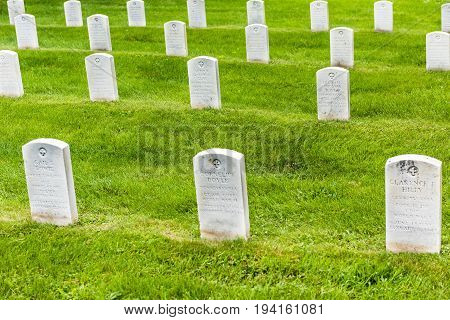 Gettysburg USA - May 24 2017: Gettysburg National Cemetery battlefield park with closeup grave stones