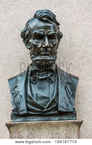 Gettysburg USA - May 24 2017: Gettysburg National Cemetery battlefield park with Lincoln memorial address bust