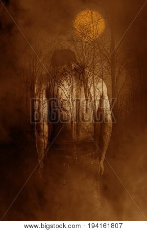 Shirtless man in dark forest,Horror background for book cover