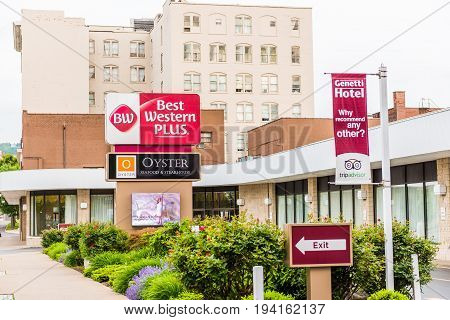 Wilkes-Barre USA - May 24 2017: Best Western Hotel building sign exterior in Pennsylvania