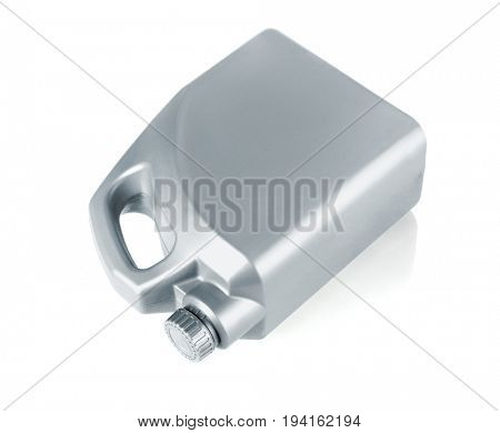 Motor Oil Container Lying on White Background