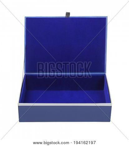 Open Empty Blue Gift Box on White Background