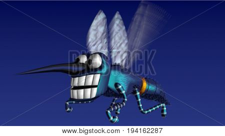Mosquito 3D model. Ilustration of a mosquito. Blue background