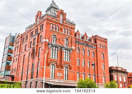 Wilkes-Barre USA - May 24 2017: Abandoned Stegmaier Brewery building remains exterior in Pennsylvania