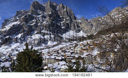 Aerial view of Leuk village by winter, Valais, Switzerland