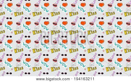 Seamless pattern with colorful patches about slang.