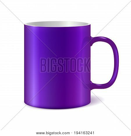 Violet and white ceramic mug for printing corporate logo. Dark color. Cup isolated on white background. Vector 3D illustration