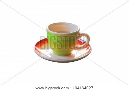 coffee cup in striped green over white background