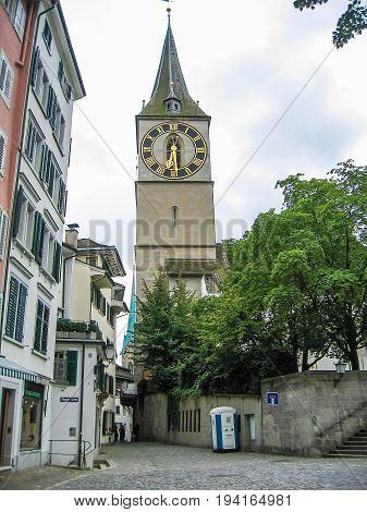 Zurich Switzerland - August 9 2007: Downtown city with clock tower and Weggen-Gasse street