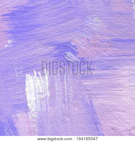 Hand painted textured abstract acrylic background with brush strokes in lavender and violet shades. Part of oil painting with brush strokes. Background of detail of pink acrylic painting.