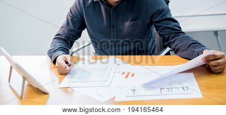 businessman working in office success and goal