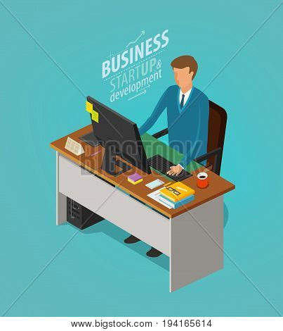 Business concept. Businessman, man sitting at desk with computer. Office worker, work, workplace icon. Flat vector illustration