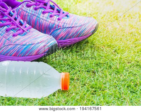 Pair of pink sport shoes and water bottle on green grass field.  Accessories for running sport.