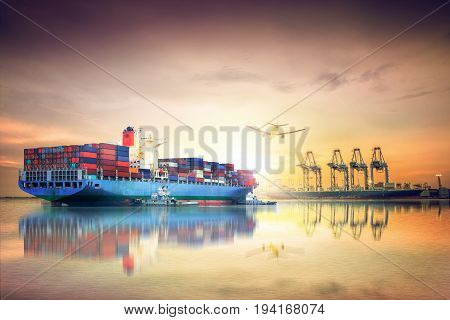 Logistics and transportation of International Container Cargo ship and cargo plane in the ocean at sunset sky Freight Transportation Shipping