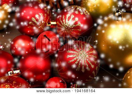 Beautiful Christmas toys, closeup. Snow effect