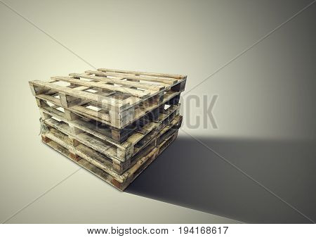 wood pallets Isolated on brown background in factory warehouse