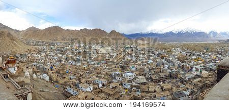 Panorama of Leh Leh city is located in the Indian Himalayas at an altitude of 3500 meters. viewed from Leh Palace