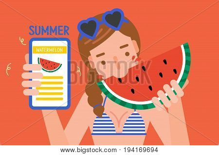 young woman eating watermelon and holding slice of watermelon.