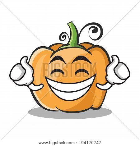 Proud face pumpkin character cartoon style vector illustration