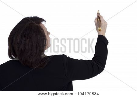 Senior business woman with a pencil on a white background