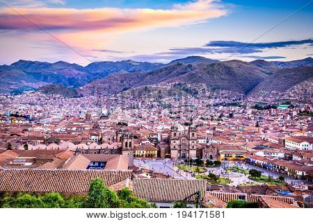 Cusco Peru - Plaza de Armas and Church of the Society of Jesus. Andes Mountains South America.