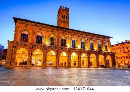 Bologna Italy - Palazzo del Podesta in the red city of Emilia-Romagna. The edifice was built around 1200.